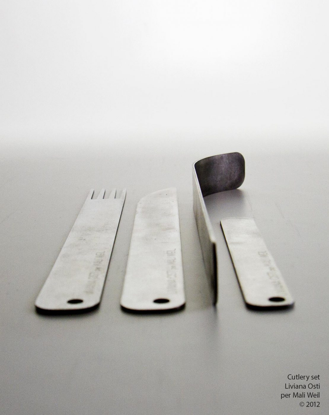 detail of cutlery set for White Mama - design Liviana Osti per Mali Weil